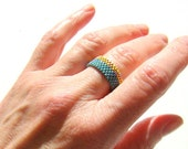 Gold and teal seed bead ring // Peyote Bead Ring // Blue Beaded Ring // Unisex Bead Ring // Everyday Jewelry // Beadwoven Ring