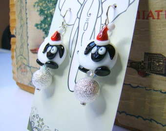 Christmas Sheep Earrings Holiday Black Faced Sheep with Santa Hat Silver Stardust Ball and Swarovski Crystals Christmas New Years Eve HO0034