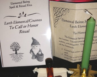 To Call or Honor Earth Elemental Gnomes Ritual Kit -- Elemental Being Spell & Ritual Kits