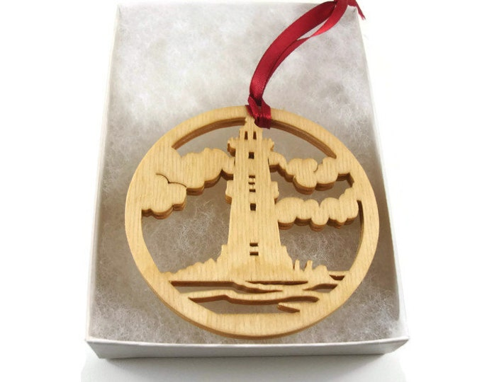 Lighthouse Scene Christmas Ornament Handmade From Birch Wood By KevsKrafts