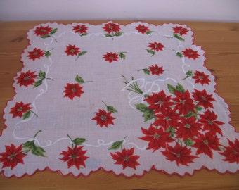 1950's Handkerchief,  Christmas Hanky