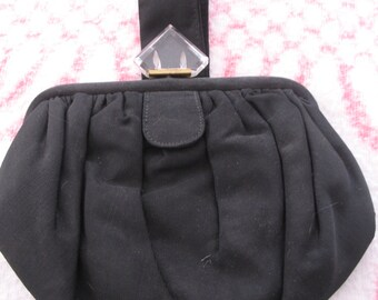 1940's Black Purse, Carved Lucite Closer