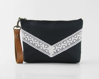 Ivory lace chevron dark navy pouch , Design by BagyBags