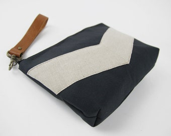 Oatmeal linen chevron dark navy pouch , Design by BagyBags
