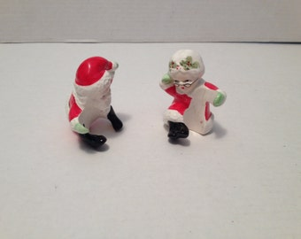 Mr Mrs Santa Clause Ceramic Candle Ring Figurines Japan Vintage Collectibles All Everything Else