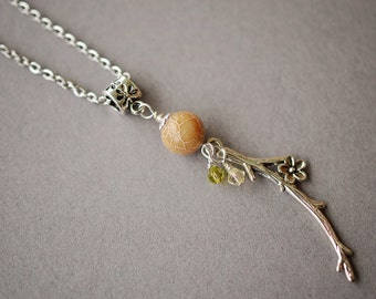 Cream Agate Necklace, Cherry Blossom Necklace, Boho Necklace, Swarovski Necklace, Olivine, Yellow, Steel Necklace