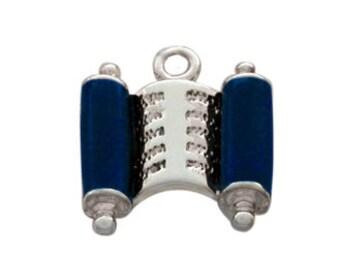 Silver Plated, Enameled Blue Torah Scroll Charm, Qty.1