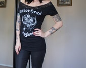 Olivia Paige -2xl diy shirt Motörhead Lemmy  Ace of spades  top with lace shoulder off
