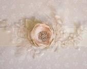 Pretty blush rose sash, bridal rose sash, wedding sash, brides sash, blush rose, blush and ivory - *Faith*