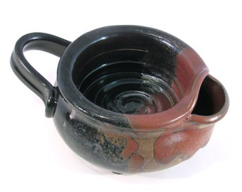 Shaving Scuttle - Shave Mug - Lather Bowl - Comfort Hot Shave - Handmade Pottery - Pottersong Pottery - Rustic Rust Red - Black - Shave