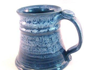Large Stein - Tankard - Coffee Mug - Handmade Pottery - 24 oz - Beer Mug - Pottersong - Denim Jeans Blue - Frosted Blue
