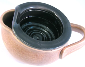 Shaving Scuttle Mug Cup Bowl For Comfort Hot Wet Shave - Handmade Pottery Glazed in Glossy Black and Oatmeal Tan