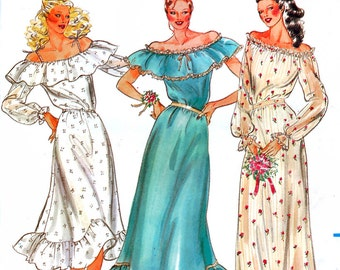 Butterick 3104 Vintage 80s Sewing Pattern for Misses' Bridesmaid and Prom Dress - Uncut - Size 12 - Bust 34