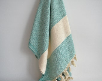 SALE 50% OFF Diamond Bathstyle Turkish BATH Towel Peshtemal -A- Turquoise - Bath, Beach, Spa, Swim, Pool Towels