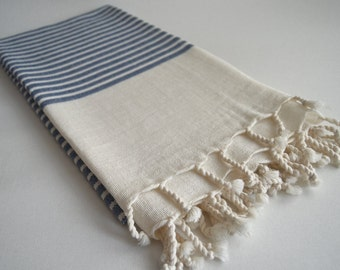 Shipping with FedEx - NEW Special Production Turkish BATH Towel Peshtemal - Linen - Blue Striped