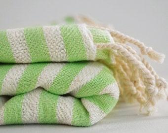 SALE 50 OFF/ Turkish Beach Bath Towel Peshtemal / Lime Green Striped / Bath, Beach, Spa, Swim, Pool Towels