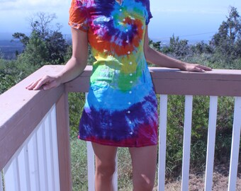 Tie dye upcycled GUESS JEANS button up dress