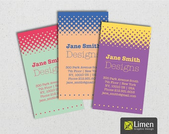 Halftone Business Card, Printable Business Card, DIY Business Card, Polka Dot Business Cards, Printable Cards, Calling Cards, Personalized