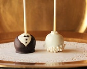 Bride and Groom Cake Truffles / Cake pops (12 count)