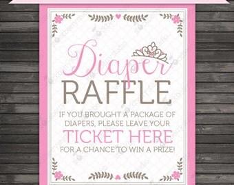 Princess Baby Shower Diaper Raffle Ticket Sign - Instant Download - Diaper Raffle Sign - Printable Sign - Princess Print