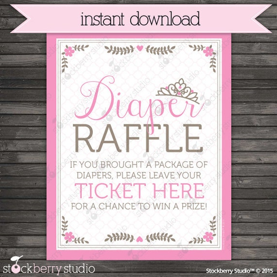 Princess Baby Shower Diaper Raffle Ticket Sign - Instant Download ...