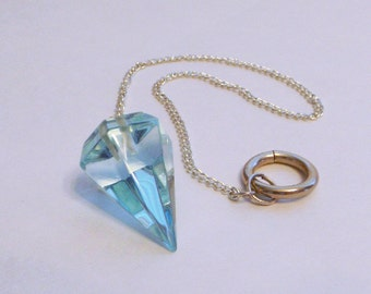 Aqua Obsidian Pendulum - high quality, crystal pendulum, divination tool, Reiki healing, crystal healing, dowsing, divination