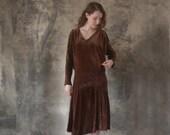 1920s Velvet Harlequin Dress size S