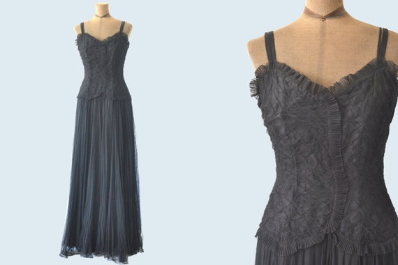 1940s long black netted tulle dress