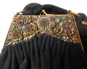 Vintage black jeweled evening Bag