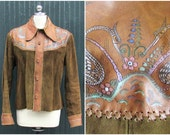 Char Mens 1970's Artisan Leather Jacket | Owl and Pussycat | Hand Painted Made in Mexico | Medium