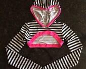 Rave  striped spandex hoodie long sleeve crop for Emelie Lager