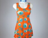90's Daisy and Butterfly Orange and Blue Mini Shift Dress // S - M
