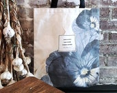 Literary Tote Bag, Floral Tote, Anne Bradstreet, Handmade canvas tote bag with pocket, canvas bag, Bookbag, College Student Gift for Her