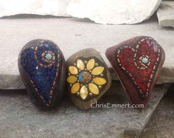 Garden Stone/Paperweights (#3 Group) Mosaic Heart, Mosaic Rock, Mosaic Garden Stone, Home Decor, Gardening, Gardening Gift,