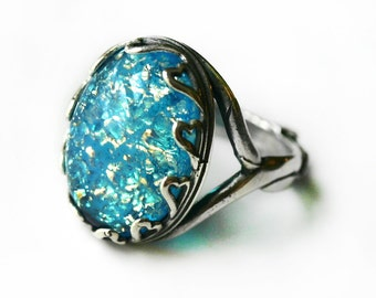 Turquoise Blue Fire Opal Ring