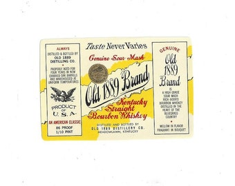 Old 1889 Brand Kentucky Straight Bourbon Whiskey Vintage Label, C1950s