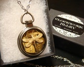 Clockwork Dragonfly Steampunk Pocket Watch Style  Pendant Necklace -Made with Real Watch Parts (1932)