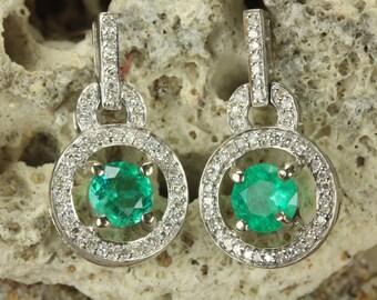 2.50tcw Colombian Emerald & Diamond Dangle-Stud Earrings 14k, Emerald Earring, Emerald Earring Stud, May Birthstone, May Anniversary Gift