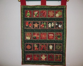 Christmas Advent Calendar - Deep Red, Hunter Green and Gold