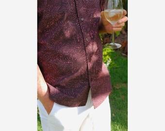 Mens Shirt Cotton Shortsleeve, Mens Cotton Shirt Shortsleeve, Maroon Shirt, Mens Summer Shirt, Mens Shortsleeve Shirt