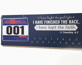 Running medal holder - medal holder - medal hanger - medal display - gifts for runners - running gifts - marathon gift - 2 Timothy 4:7