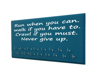 running medals holder - inspirational quote for running medals display rack, medal holder and gifts for runners, running gift