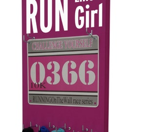 Race Bibs Hanger: Run like a girl , Gifts for runners