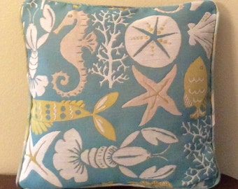 Turquiose Coastal pillow cover with starfish, shells, coral, lobster