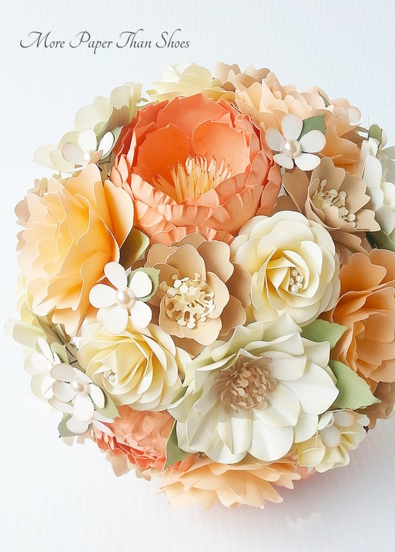 Paper Bouquet - Paper Flowers - Wedding Bouquet - Bride or Bridemaid - Shabby Peach - Customize Your Colors - Made To Order