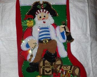 Handmade finished Pirate Santa Christmas Stocking - fsk13