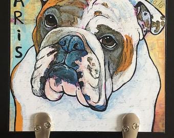 Custom Dog Leash Holder 6x6 Pet Leash Hook Dog Leash Collar Hook Pet Home Decor Dog Lover Gift Organizer Pet Art