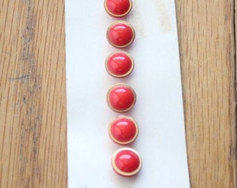 Vintage 50's Red and Gold Glass Round Buttons on Original Card made in Western Germany