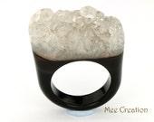 RI01011017) Black Agate Druzy Ring