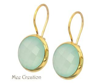 EE5190004) Aqua Chalcedony Earrings, Aqua Chalcedony Checkerboard Earrings, Mint Earrings, Aqua Chalcedony Drop Earrings, Quartz Earrings